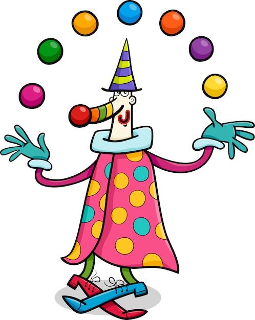Illustration De Dessin Anime Cirque Clown Jongleur Vecteur Premium