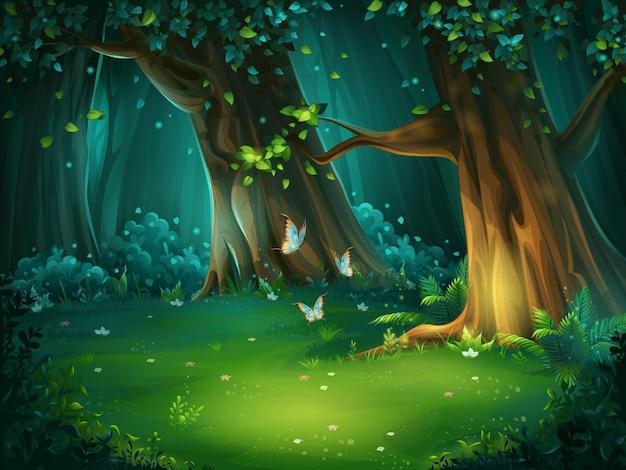 Illustration De Dessin Animé De La Clairière De La Forêt De Fond. Bois Clair Avec Des Papillons. Pour Le Jeu De Conception, Les Sites Web Et Les Téléphones Mobiles, L'impression. Vecteur Premium