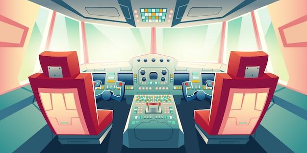 Illustration de dessin animé de cockpit de jet d'affaires moderne Vecteur gratuit