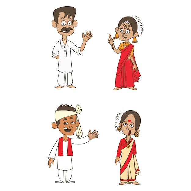 Illustration de dessin animé de couples indiens. Vecteur Premium