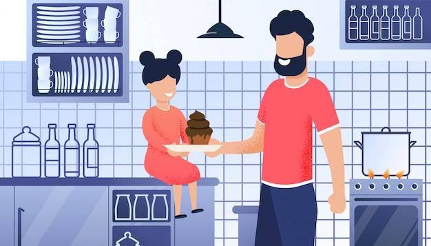 Illustration de dessin animé cuisine père et fille Vecteur Premium