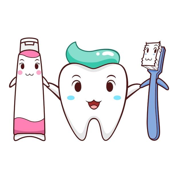 Illustration de dessin animé de dent, brosse à dents et dentifrice. Vecteur Premium