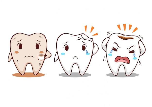 Illustration de dessin animé de dent avec des problèmes de dents. Vecteur Premium