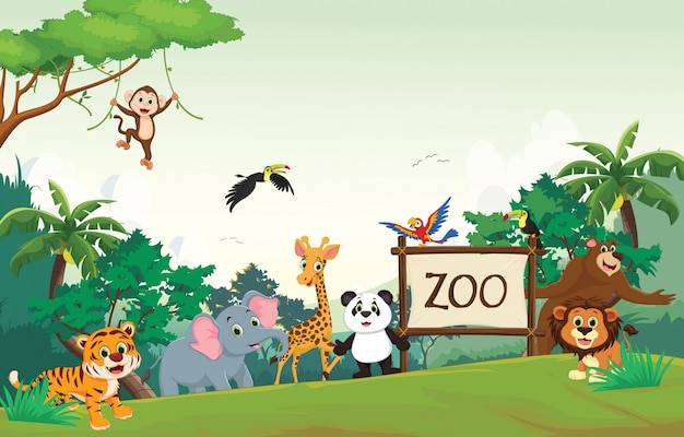 Illustration De Dessin Anime Drole D Animaux Zoo Vecteur Premium