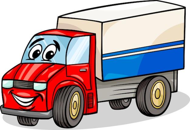 Illustration De Dessin Animé Drôle De Voiture De Camion