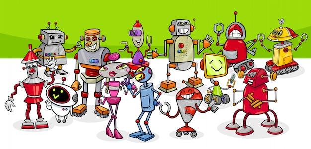 Illustration de dessin animé du groupe de personnages de robots fantasy Vecteur Premium