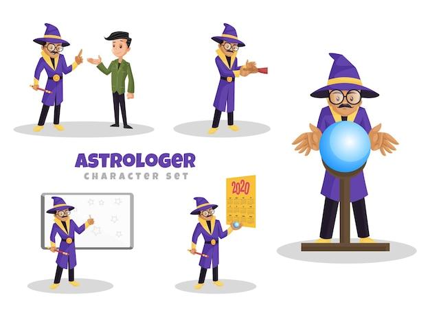 Illustration De Dessin Animé Du Jeu De Caractères Astrologue Vecteur Premium