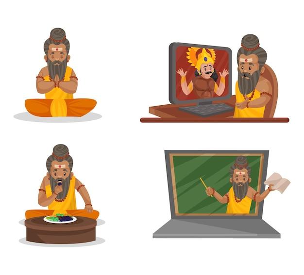 Illustration De Dessin Animé Du Jeu De Caractères Dronacharya Vecteur Premium