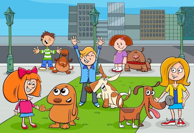 Illustration de dessin animé d'enfants avec des chiens Vecteur Premium