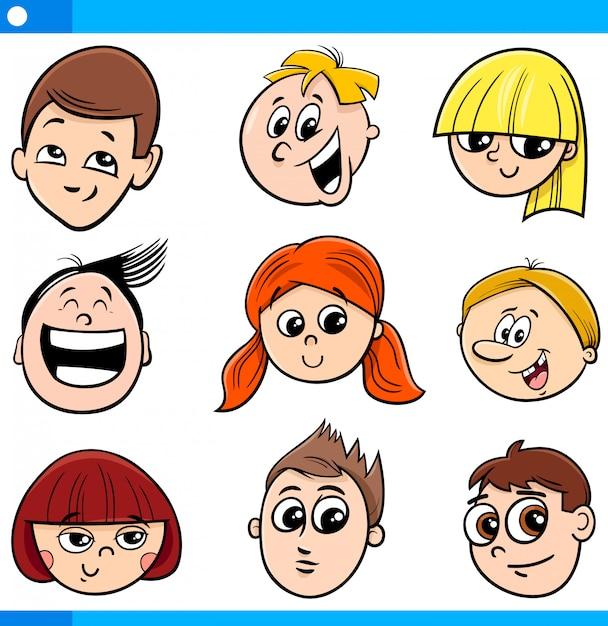 Illustration de dessin animé d'enfants ou de visages adolescents Vecteur Premium