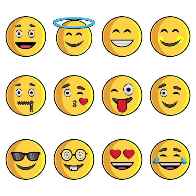 Illustration de dessin animé de l'ensemble emoji. Vecteur Premium