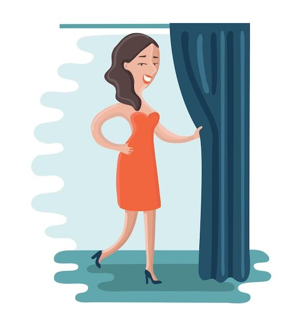 Illustration De Dessin Animé Femme Essaie Une Robe Rouge Et Tire Le Rideau Dans La Cabine D'essayage. Vecteur Premium