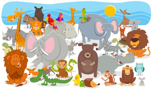Illustration de dessin animé de fond de personnages animaliers Vecteur Premium