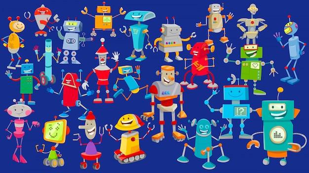 Illustration de dessin animé de fond de personnages de robot Vecteur Premium