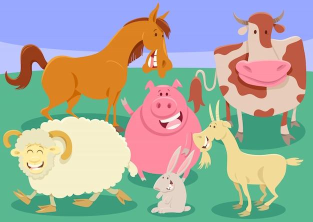 Illustration de dessin animé groupe animaux de la ferme Vecteur Premium