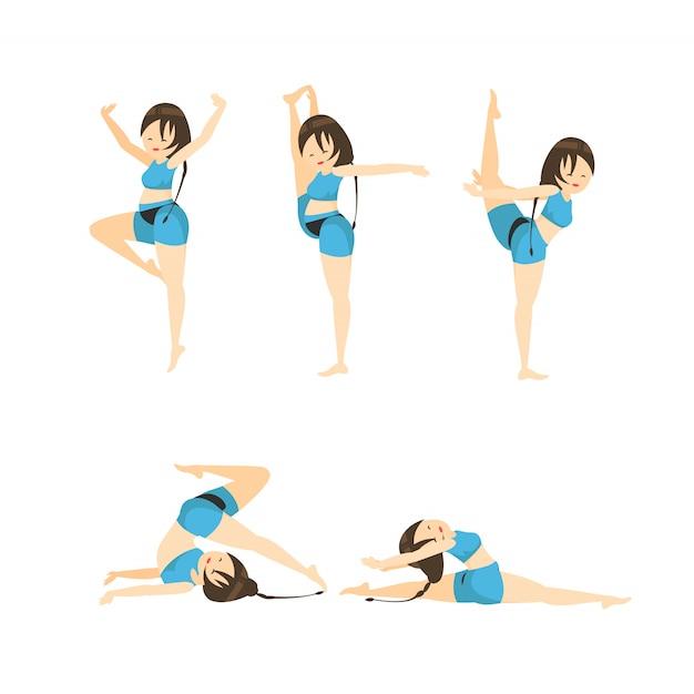 Illustration de dessin animé de gymnastique vectorielle Vecteur Premium