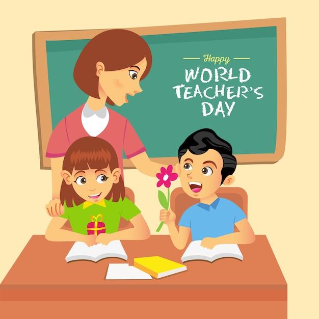 Illustration De Dessin Animé Happy World Teacher's Day. Convient Pour Carte De Voeux, Affiche Et Bannière Vecteur Premium