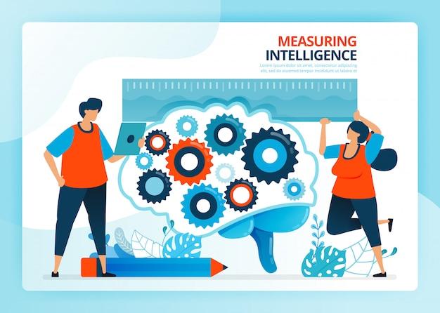 Illustration De Dessin Animé Humain Pour Mesurer Et Développer L'intelligence De L'éducation. Vecteur Premium