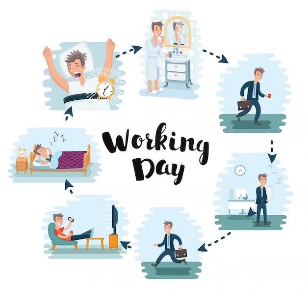 Illustration De Dessin Animé De La Journée De Travail De L'homme Au Bureau. Employé De Bureau Travaille Et Se Repose Après Le Travail Vecteur Premium