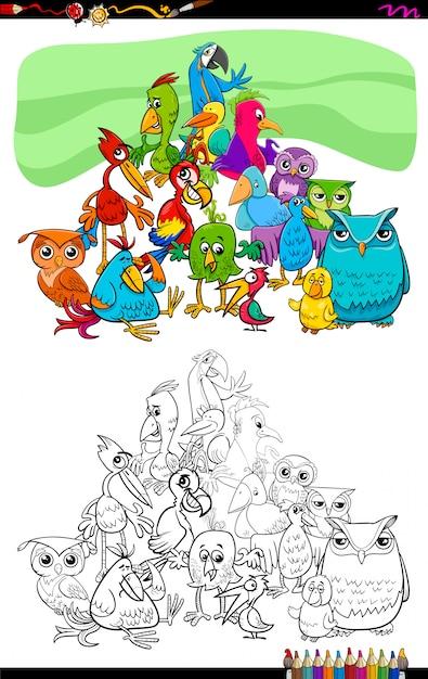 Illustration de dessin animé de livre de coloriage de personnages d'oiseaux Vecteur Premium