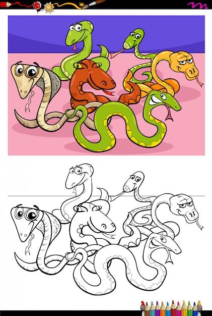 Illustration de dessin animé de livre de coloriage de serpents drôles Vecteur Premium