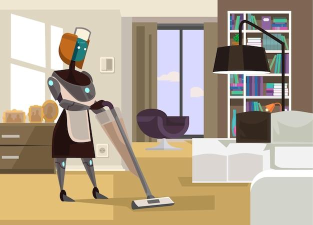 Illustration De Dessin Animé De Maison De Nettoyage Robot Ménagère Vecteur Premium