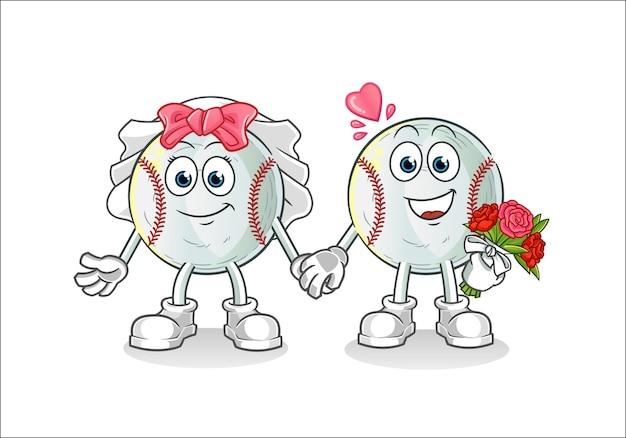 Illustration De Dessin Animé De Mariage De Baseball Vecteur Premium