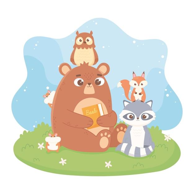 Illustration De Dessin Animé Mignon Animaux Ours Hibou Raton Laveur Hamster écureuil Vecteur Premium