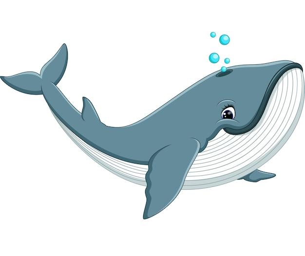 Illustration de dessin animé mignon baleine Vecteur Premium
