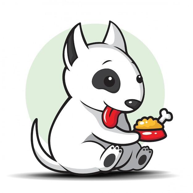 Illustration De Dessin Animé Mignon Bull Terrier Vecteur Premium
