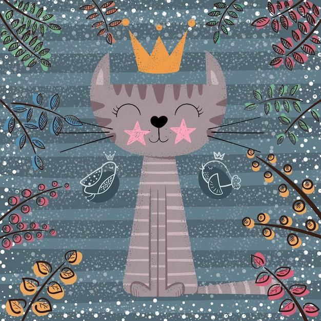Illustration de dessin animé mignon chat princesse Vecteur Premium