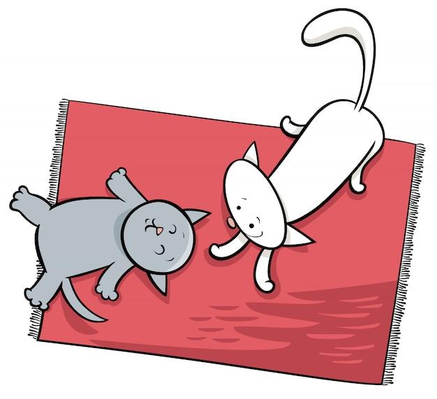 Illustration de dessin animé mignon chats jouant Vecteur Premium