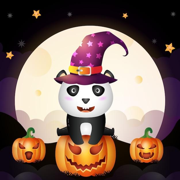 Dessin Anime Halloween Jack.Illustration D Un Dessin Anime Mignon Halloween Sorciere Panda Se Tenir Sur La Citrouille Devant La Lune Vecteur Premium