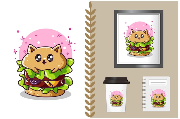 Illustration De Dessin Animé Mignon Hamburger Vecteur Premium
