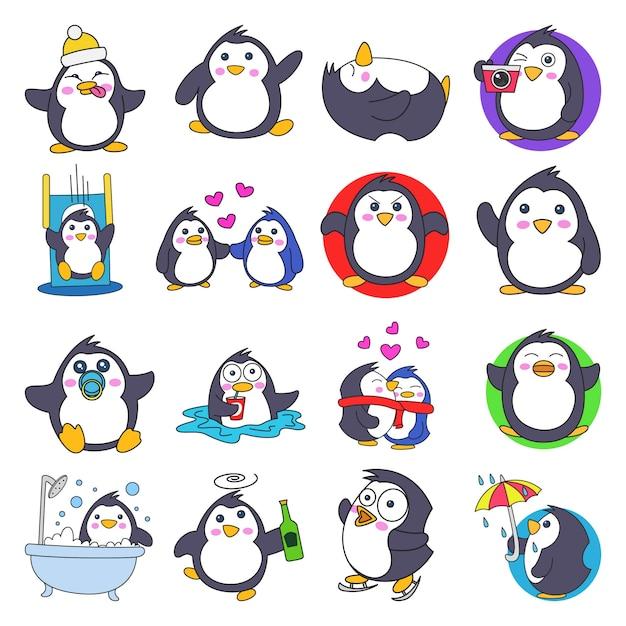 Illustration de dessin animé mignon jeu de pingouin Vecteur Premium
