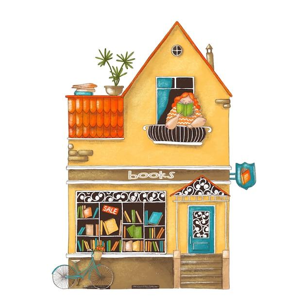 Illustration de dessin animé mignon de magasin de livres Vecteur Premium