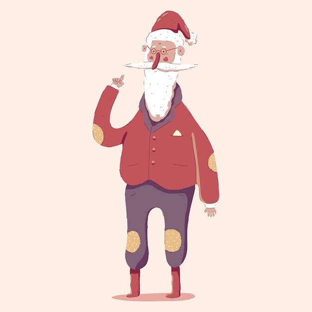 Illustration De Dessin Animé Mignon Personnage De Père Noël Isolée Sur Fond. Vecteur Premium