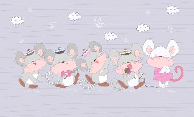 Illustration de dessin animé mignon petite souris Vecteur Premium