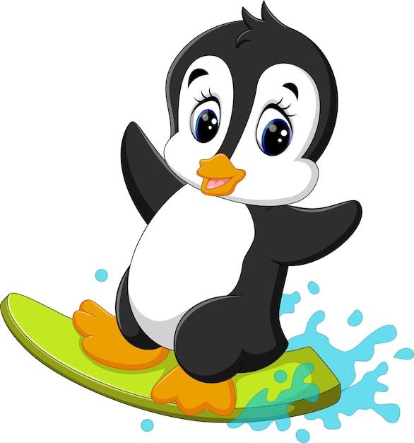 Illustration de dessin animé mignon surfeur pingouin Vecteur Premium