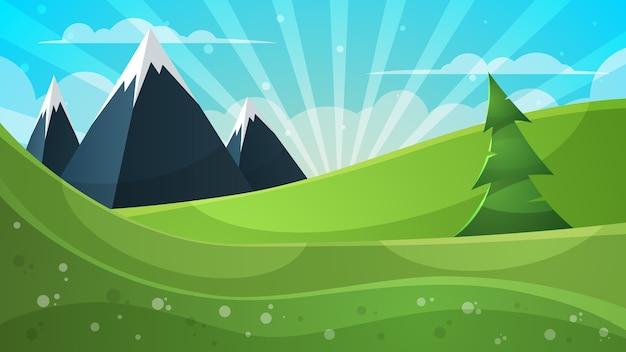 Illustration De Dessin Anime Montagne Sapin Nuage Soleil