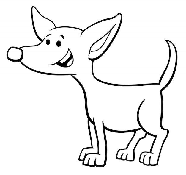 Illustration De Dessin Animé Noir Et Blanc De Funny Puppy Ou