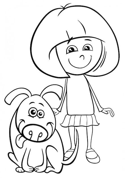 Coloriage Chien Noir Et Blanc.Illustration De Dessin Anime Noir Et Blanc De Kid Girl Avec Livre De