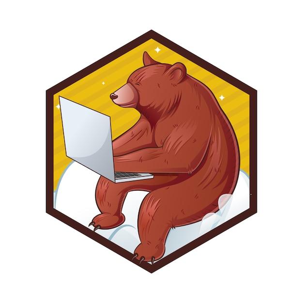 Illustration De Dessin Animé D'ours Mignon. Vecteur Premium