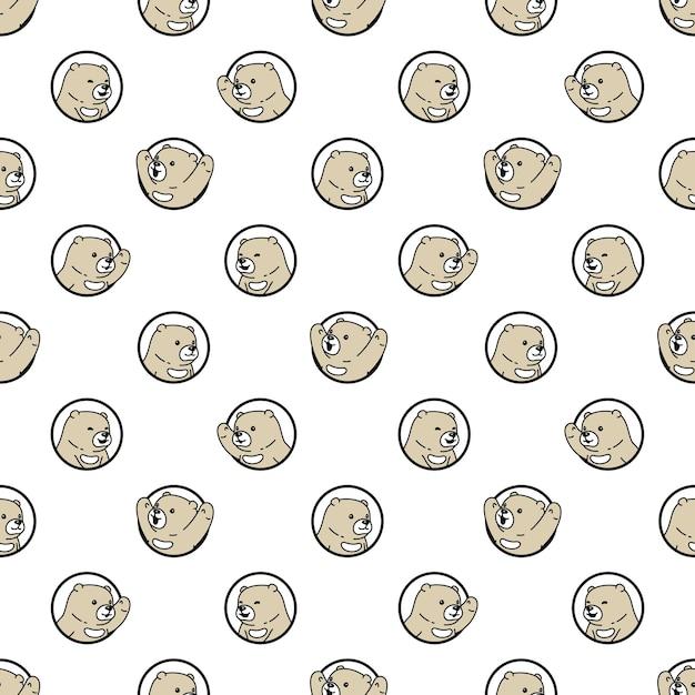 Illustration De Dessin Animé Ours Polaire Transparente Motif Vecteur Premium