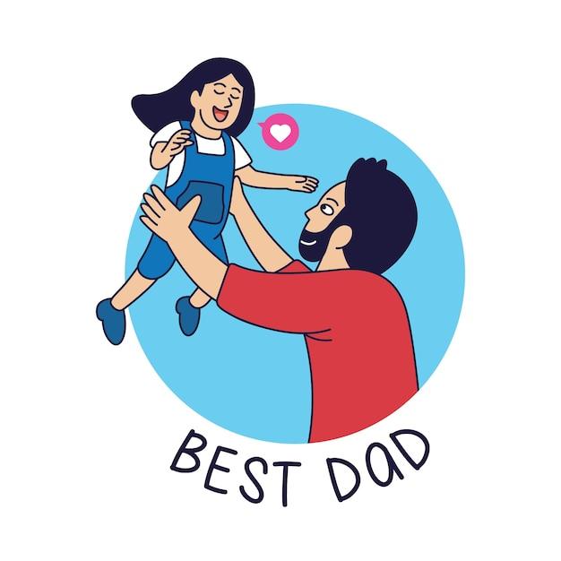 Illustration De Dessin Animé De Père Célibataire, Père Jouant Avec Sa Fille Vecteur Premium