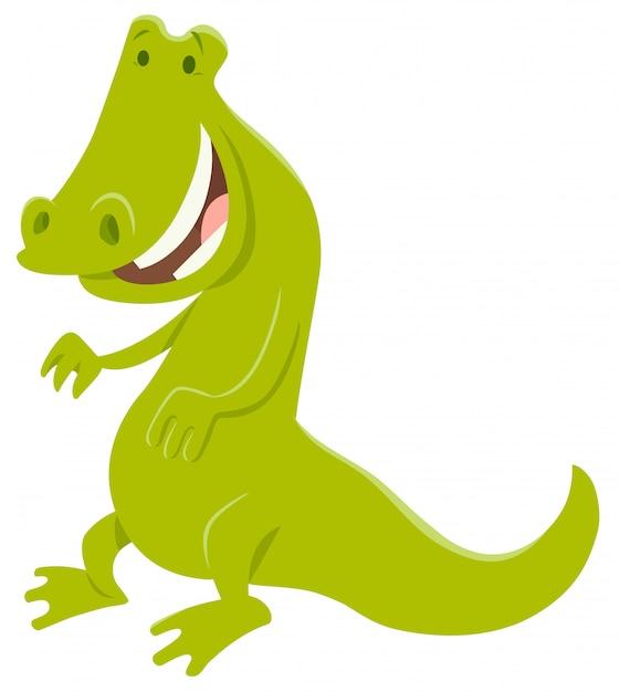 Illustration de dessin animé de personnage de crocodile drôle Vecteur Premium