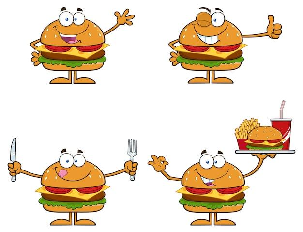 Illustration de dessin animé de personnages de hamburger Vecteur Premium