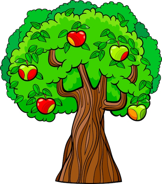 Coloriage Arbre Pomme.Illustration De Dessin Anime De Pommier Telecharger Des