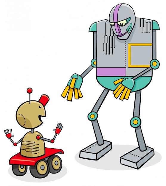 Illustration de dessin animé de robots parlants Vecteur Premium