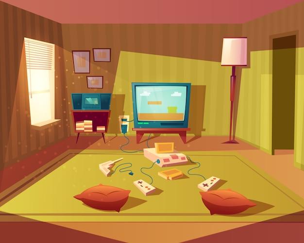 Illustration de dessin animé d'une salle de jeux vide pour enfants avec console de jeu, écran de télévision et manette de jeu Vecteur gratuit